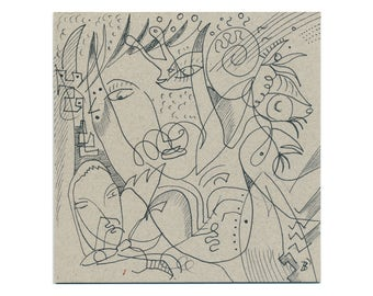 Drawing 15/15 cm (5.9/5.9 inch) lines, contour drawings, line drawings, original drawings on a grey surface