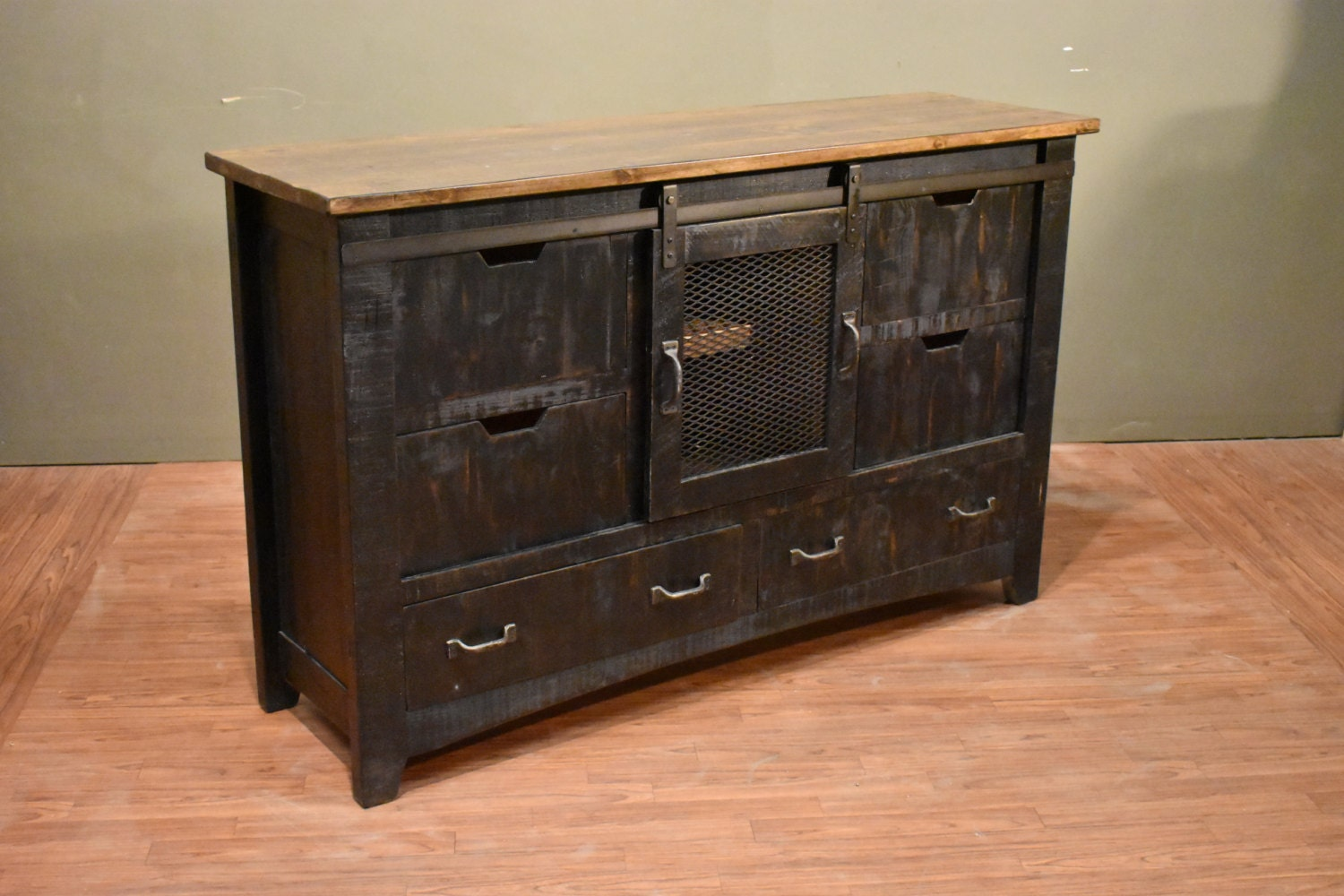 Rustic Solid Reclaimed Wood Distressed Black Dresser