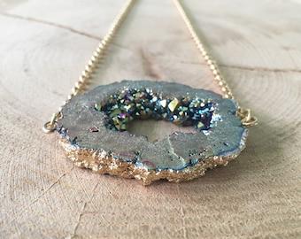 Rainbow Druzy Geode Necklace