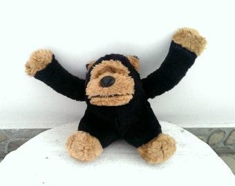 Vintage Stuffed Toy Monkey, Old Kid Toy, Children Toy Black Monkey