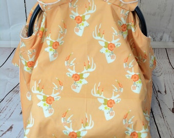 Minty Floral Deer Car Seat Cover