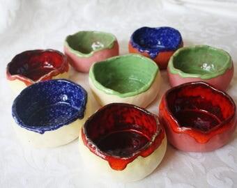 6 colorful ceramic bowls, bowls, Dip bowls