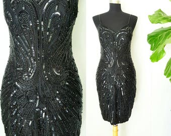 Black Silk Sequined Beaded Party Dress with Beautiful Design by Spiegel | Labeled Size 6