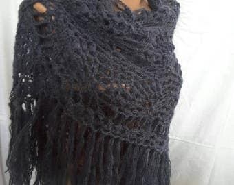New unique handmade in Ukraine crocheted angora mohair women triangular shawl wrap