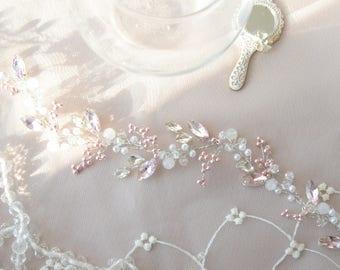 SHIMMERING PINK   Soft pink bridal hair vine wedding headpiece crystal bridal hairpiece