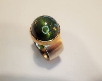 Ring Silver Gold Tourmaline cat eye