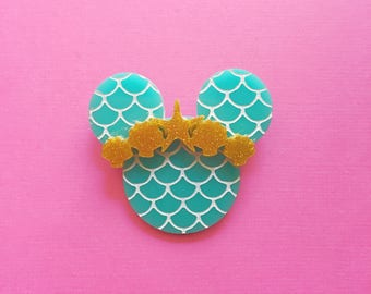 Under The Sea Brooch / Mickey Pin / Little Mermaid Pin Inspired