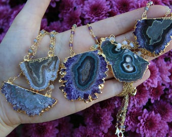Amethyst Stalactite Necklace / Raw Crystal Necklace