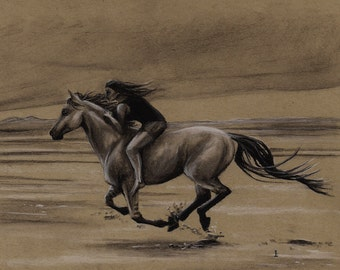 Girl on Running Horse Black and White Charcoal PRINT
