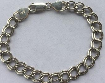 Vintage Sterling Silver Double Link Chain Bracelet