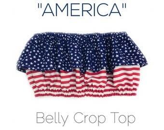 America Belly Crop Top