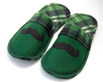 Green Mustache Slippers Men, House Shoes, Men Shoes, Guys Shoes, Men Gift, Dad Gift, Grandpa Gift, Scuffs, Men Slippers, Plaid Felt Slippers