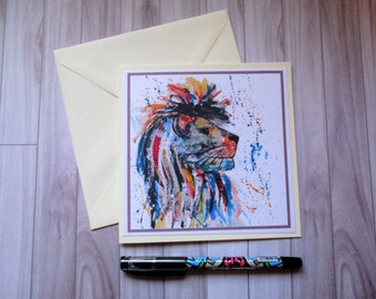 Lion greetings card, blank card, greetings card, birthday card, note card, thank you card, lion thank you card, lion card, lion