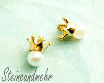 2 x Gold Crown pendant with Pearl art. 3034