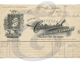 1901 Continental Tailoring Company Invoice Digital Download Ephemera