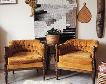 RESERVED Mustard Yellow Velvet Tufted Barrel Back Chairs, yellow tufted vintage chairs, french tufted back chairs, pair of mustard yellow vi