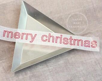 "Christmas Washi Tape, 9/16"", 10 Yds, Merry Christmas, Decorative Tape, Holiday Washi Tape, Red Washi Tape, Christmas Decor, Envelope Seals"