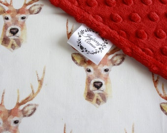 Baby Blanket - Stag Baby/Toddler Minky Blanket - CHOICE OF COLOURS - Baby gift idea - Baby shower gift.