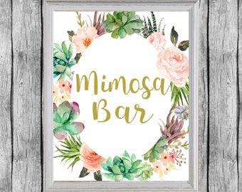 Mimosa Bar Sign. Bridal Shower Succulent Mimosa Bar Sign.  Printable Bridal Shower Decor. Instant Download