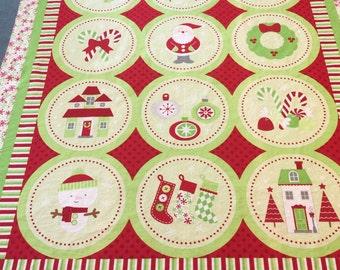 Riley Blake Christmas Fabric. Christmas Fabric. Christmas Quilting Panel. Christmas Panel Fabric. Christmas Squares Fabric
