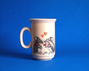 Churchill Mouse Hearts Love Hearts Mug - Vintage Kitsch Cute Mice Valentines Easter Coffee Cup - Made in England
