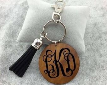 Wood Disk with Tassel Keychain, Monogram Keychain, Personalized Keychain, Tassel Keychain
