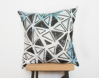 Cushion cover in Teal triangles, throw pillow cover mint nursery decor - Ready to ship