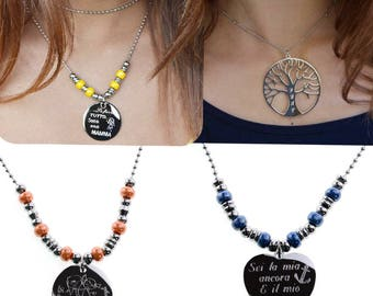 Customizable ceramic necklace and tree of life necklace