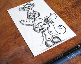 original drawing, whimsical illustration, pumpkin head postcard art, halloween illustration