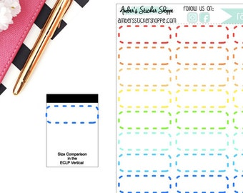 Rainbow Quarter Dashed Memo Boxes Planner Stickers
