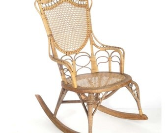 Antique wicker rocking chair Wakefield Rattan Co label 19th c natural ladies