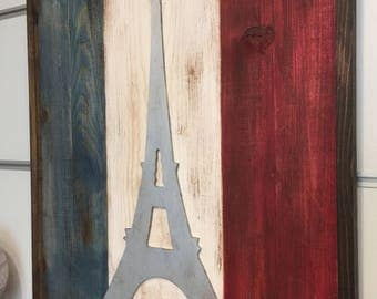 Engraved Paris - Framed - Art - Hand painted, Rustic Wood Sign, Custom Distressed Sign, Home Wall Decor