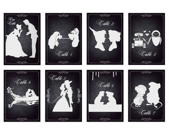 Disney Inspired Couples Silhouettes Table Numbers - DIGITAL FILES