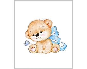 Teddy bear Nursery Art Print, Children Wall Decor, Kids Wall Art, Baby Room Wall Art, Animal Illustration, Children Art Print