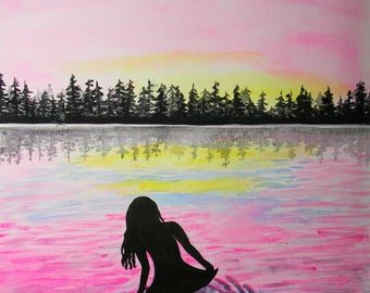 Original watercolor painting - Water nymph - Sunset in the pines