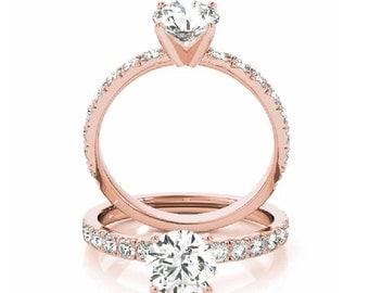 Rose Gold Engagement Ring, Petite Diamond  Ring, Minimalist Diamond Ring, Simple Rose Gold Engagement Ring, Thin Engagement Ring