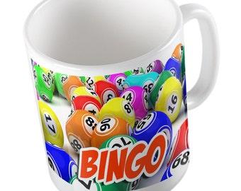 Colourful bingo ball mug