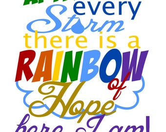 Rainbow Baby - Here I am - svg file