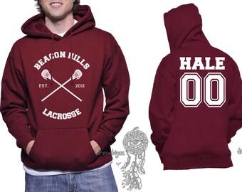 Beacon Hills Lacrosse CR Hale 00 Derek Hale printed on Unisex Hoodie MAROON