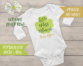 Baby's First St. Patrick's Day Outfit - St. Paddy's Day - Shamrock Bodysuit - Baby Bodysuit - Newborn Bodysuit - Baby Girl - Clover