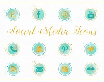 Watercolour Social Media Icons in Green & Gold - Marketing - Social Media - Icon - Buttons - Blog - Website - PNG Transparent Digital Files