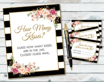 How Many Kisses Sign Printable, Guess How Many Kisses, Bridal Shower Kisses Game, Guessing Shower Game, Black And White Stripes, Floral