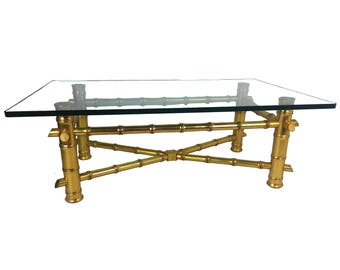 Gold Leaf Faux Bamboo Coffee Table with Thick Glass Top