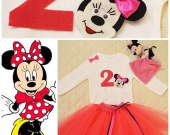 Baby Girl Birthday Outfit 2nd Birthday Girl Outfit Set Minnie Mouse TU TU Set Handmade