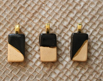 Gold Small Rectange Necklace - Handmade Gold Ceramic Pendant, geometric, jewelry, ceramic necklace, gold pendant