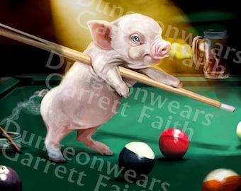 Pool Playing Piglet Art Print