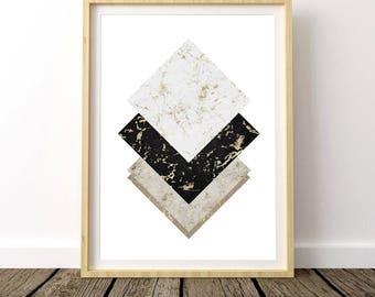 Nordic Design, Printable Marble, Black Gold Marble, Marble Geometric Print, Scandinavian Print, Marble Print, Marble Decor