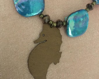 Seahorse and Blue Shell Necklace