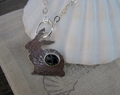 Bunny Love sterling silver with snowflake obsidian // ready to ship