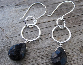 Glittery blue goldstone and silver dangle earrings // ready to ship